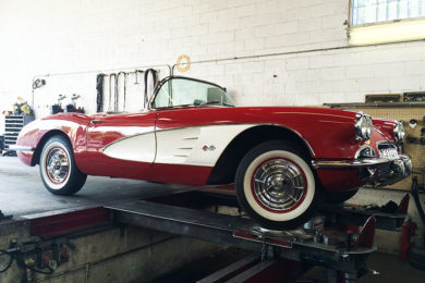 Classic car being aligned at Hewitt Alinement in Stockton, California.