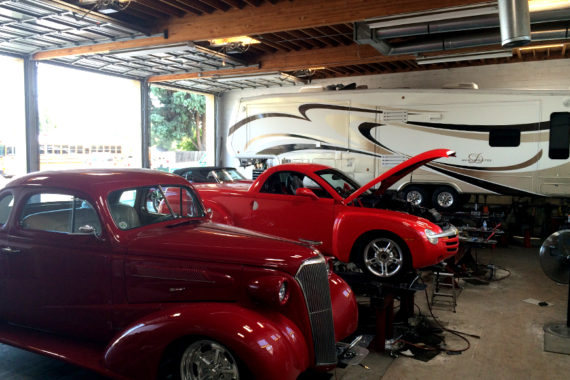 Classic cars and RV at Hewitt Alinement in Stockton, California.